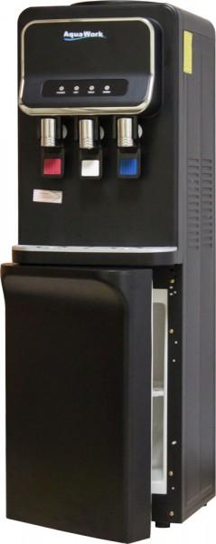 Черный напольный кулер для воды Aqua Work V93-W со шкафчиком и электронным охлаждением