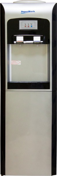 Черный напольный кулер для воды Aqua Work V90 со шкафчиком и электронным охлаждением
