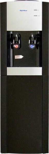Черный напольный кулер для воды Aqua Work V901 со шкафчиком и электронным охлаждением
